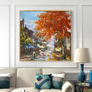 Những bức tranh phố cổ Hà Nội đẹpTreo phòng khách cổ điển