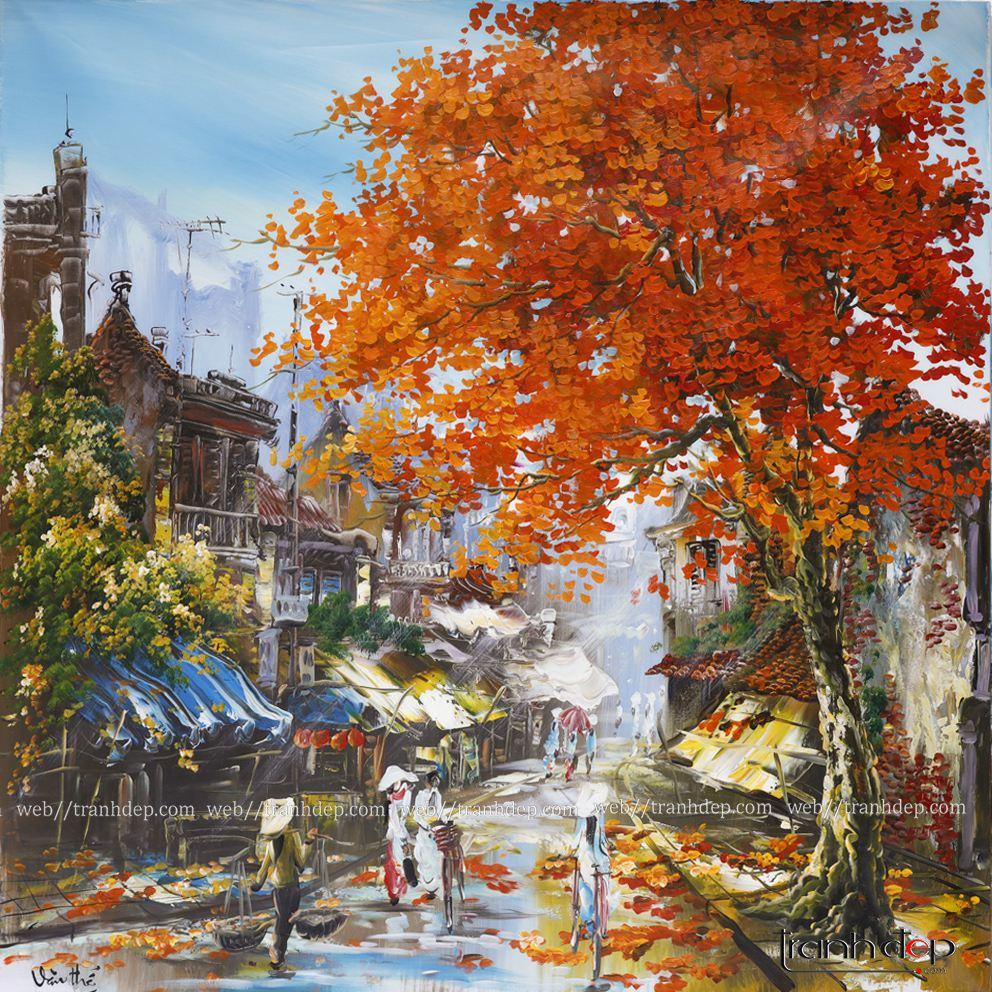 tranh vẽ sơn dầu phố cổ