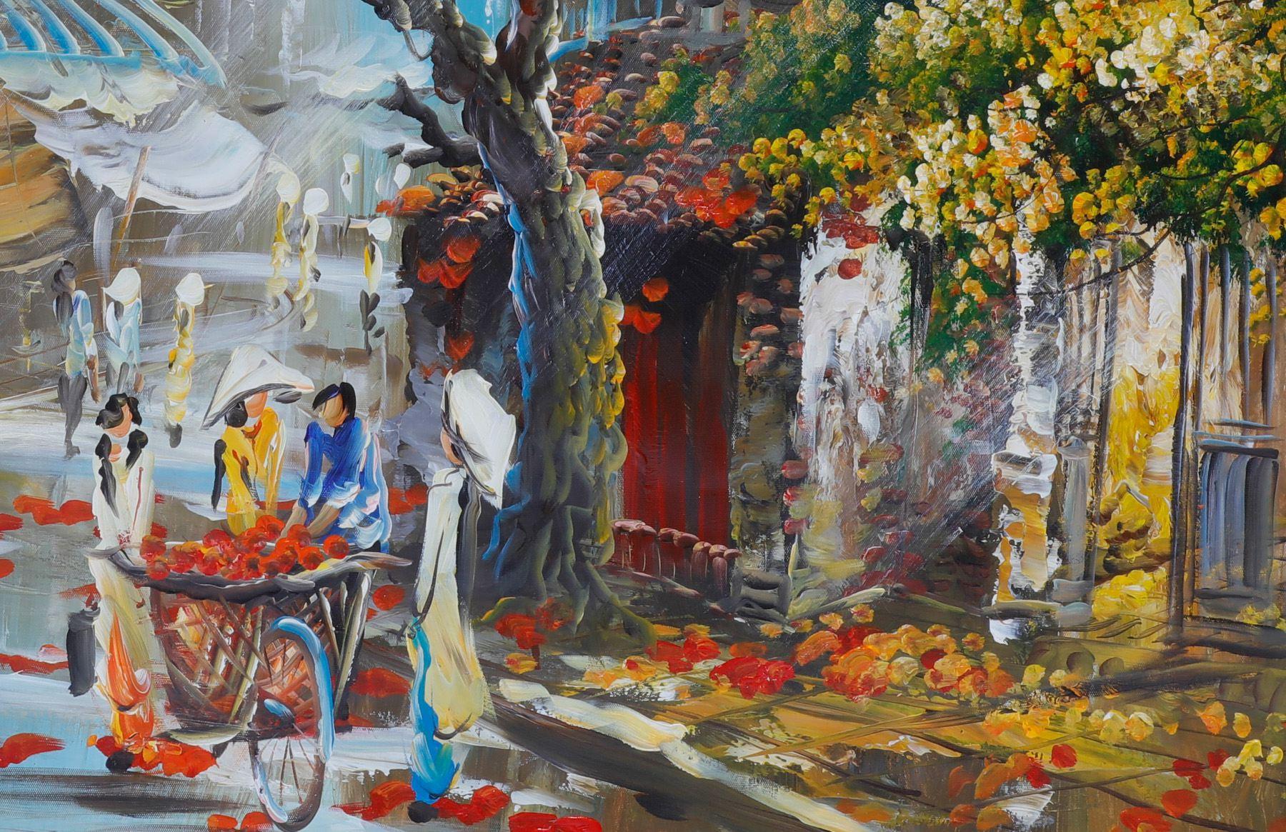 tranh vẽ sơn dầu phố cổ Hà Nội