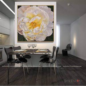 Tranh phong thủy hoa mẫu đơn trắng sang trọng