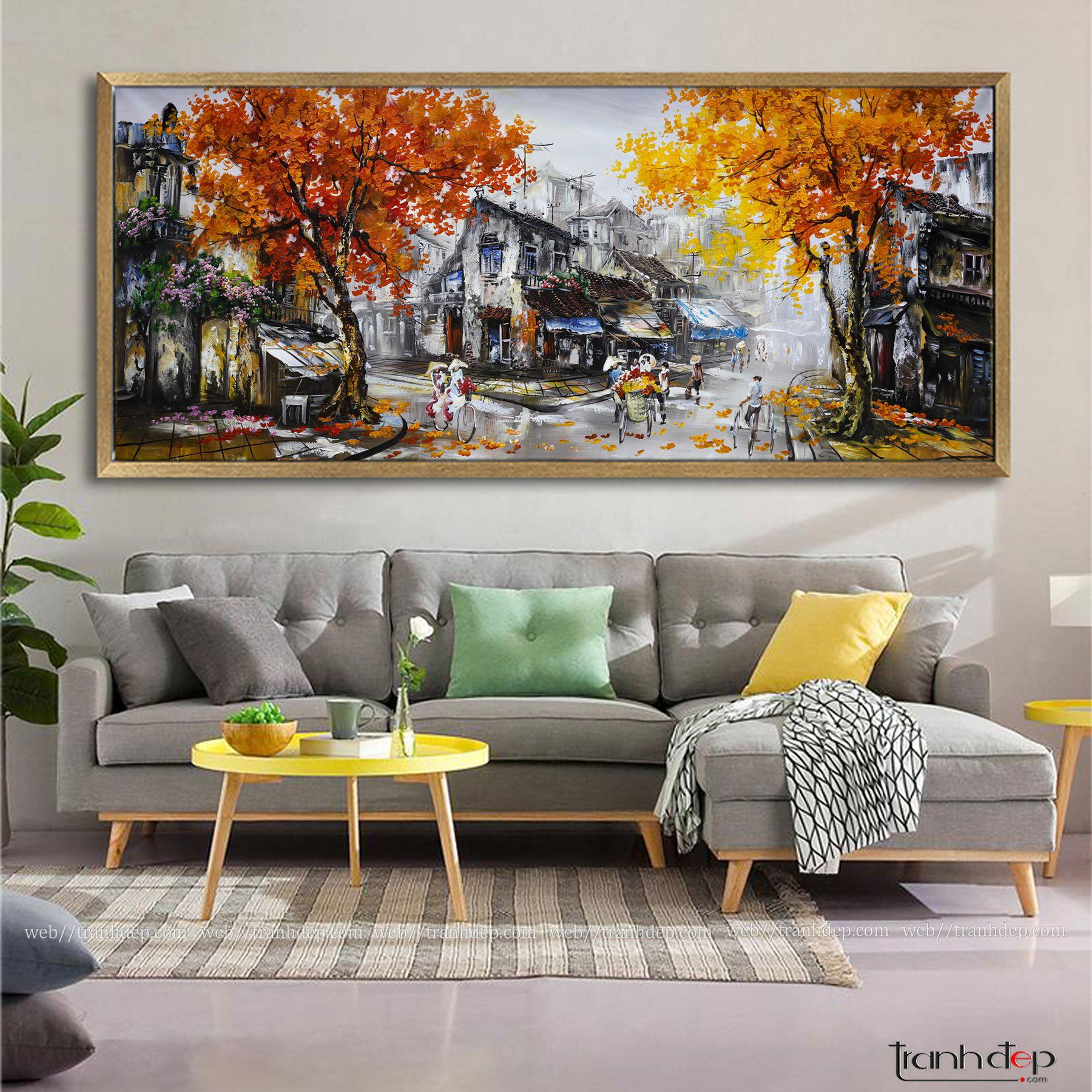 Tranh phố cổ Hà nội vẽ sơn dầu khổ lớn | tranh phố cổ 17