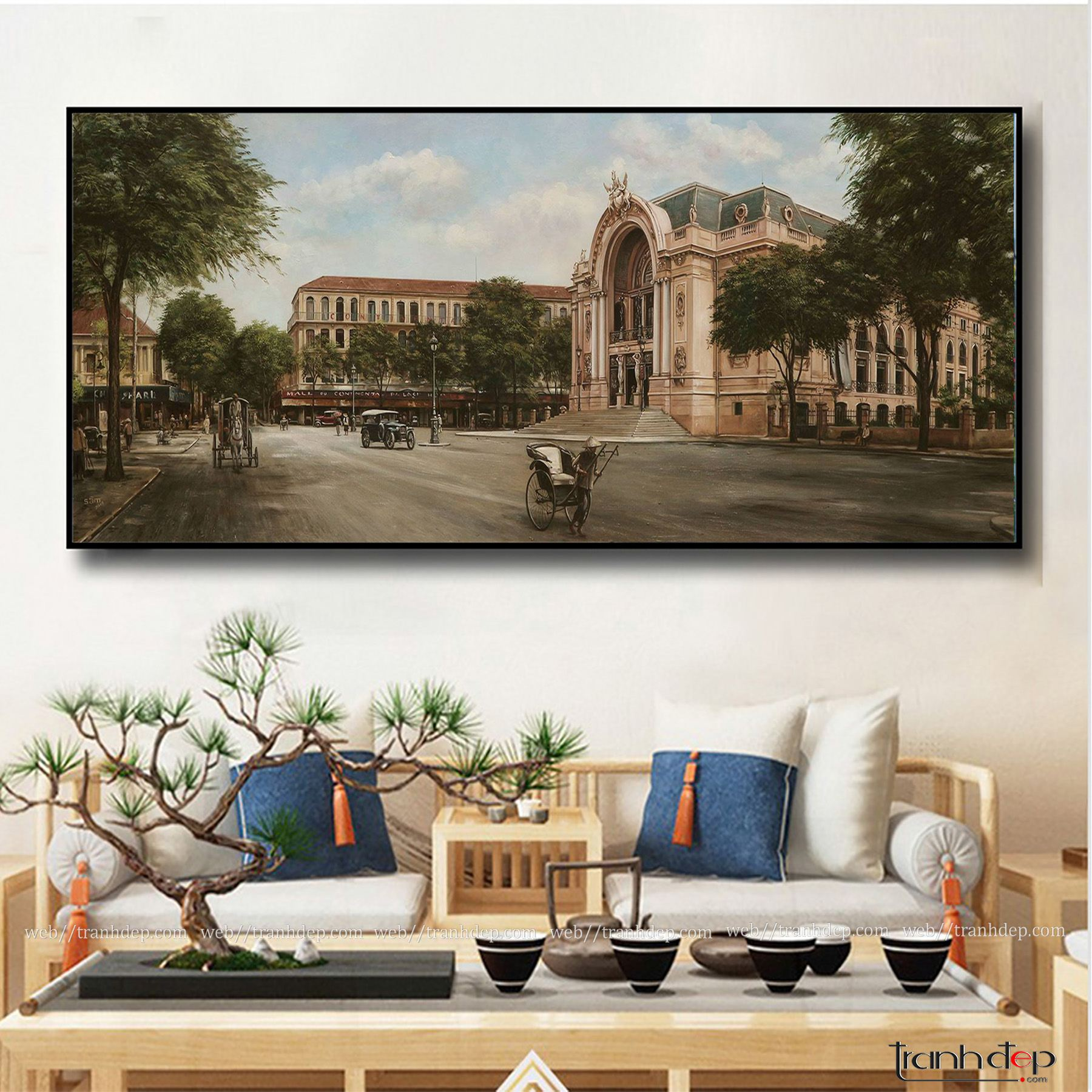 Tranh Phố Cổ Sài Gòn Xưa | Nhà Hát Lớn Sài Gòn