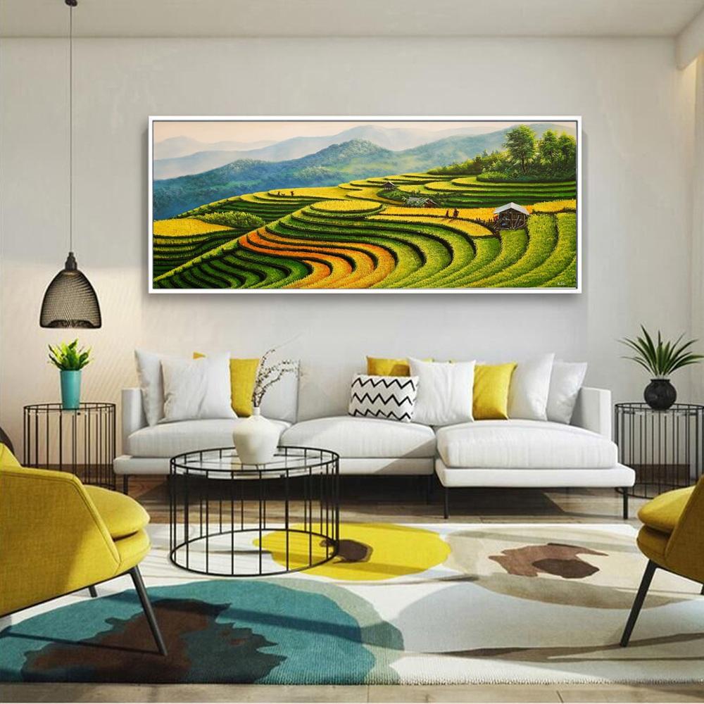 Tranh phong cảnh ruộng bậc thang mới lạ trong nội thất phòng khách