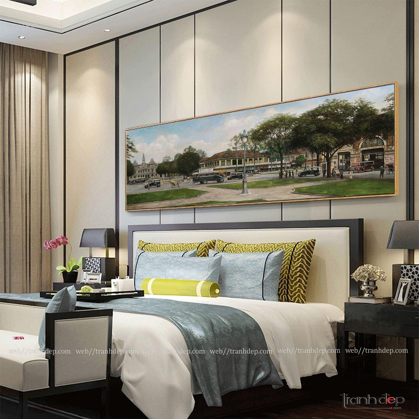 Tranh vẽ phố cổ Sài Gòn treo phòng ngủ