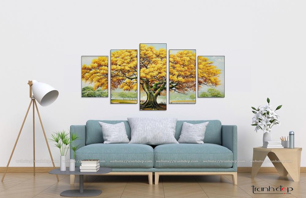 tranh cây cổ thụ lá vàng