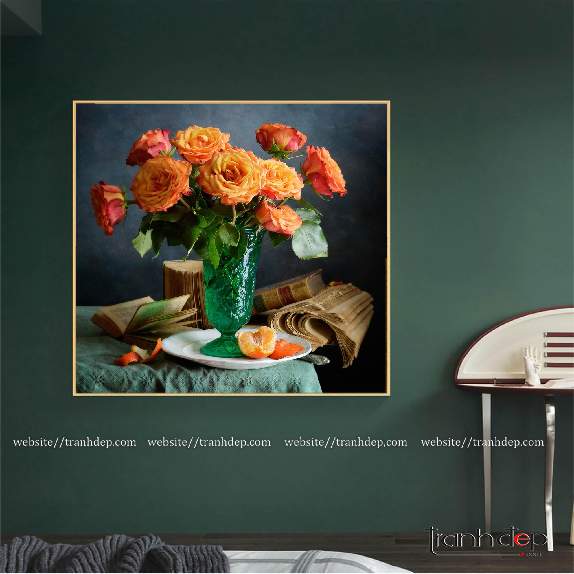 Tranh tĩnh vật hoa và quả treo phòng ngủ