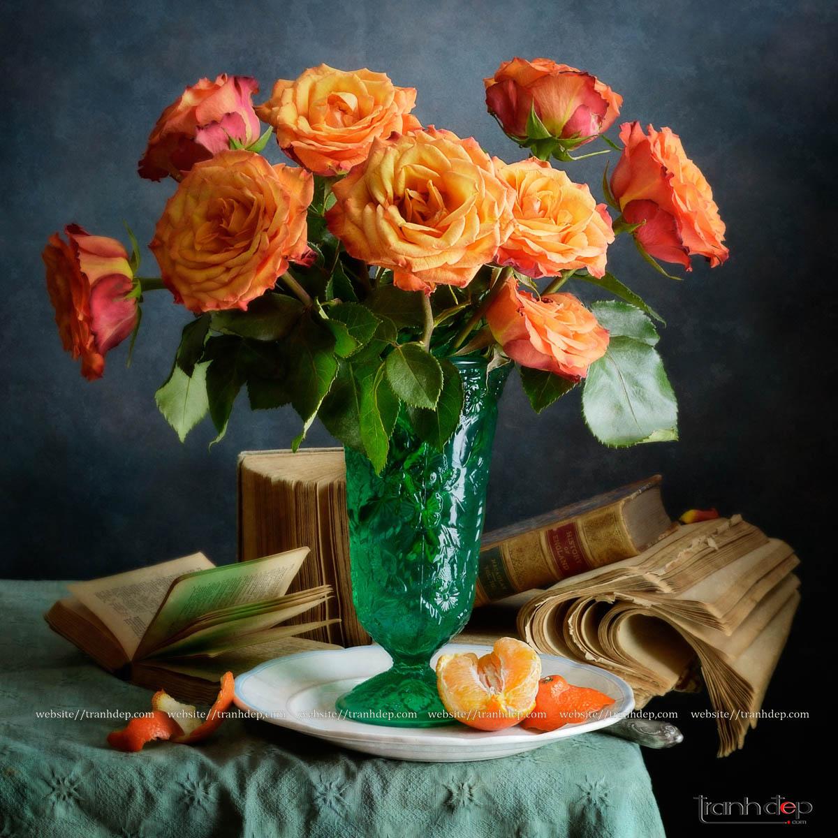 Tổng thể bức tranh hoa hồng và quả cam