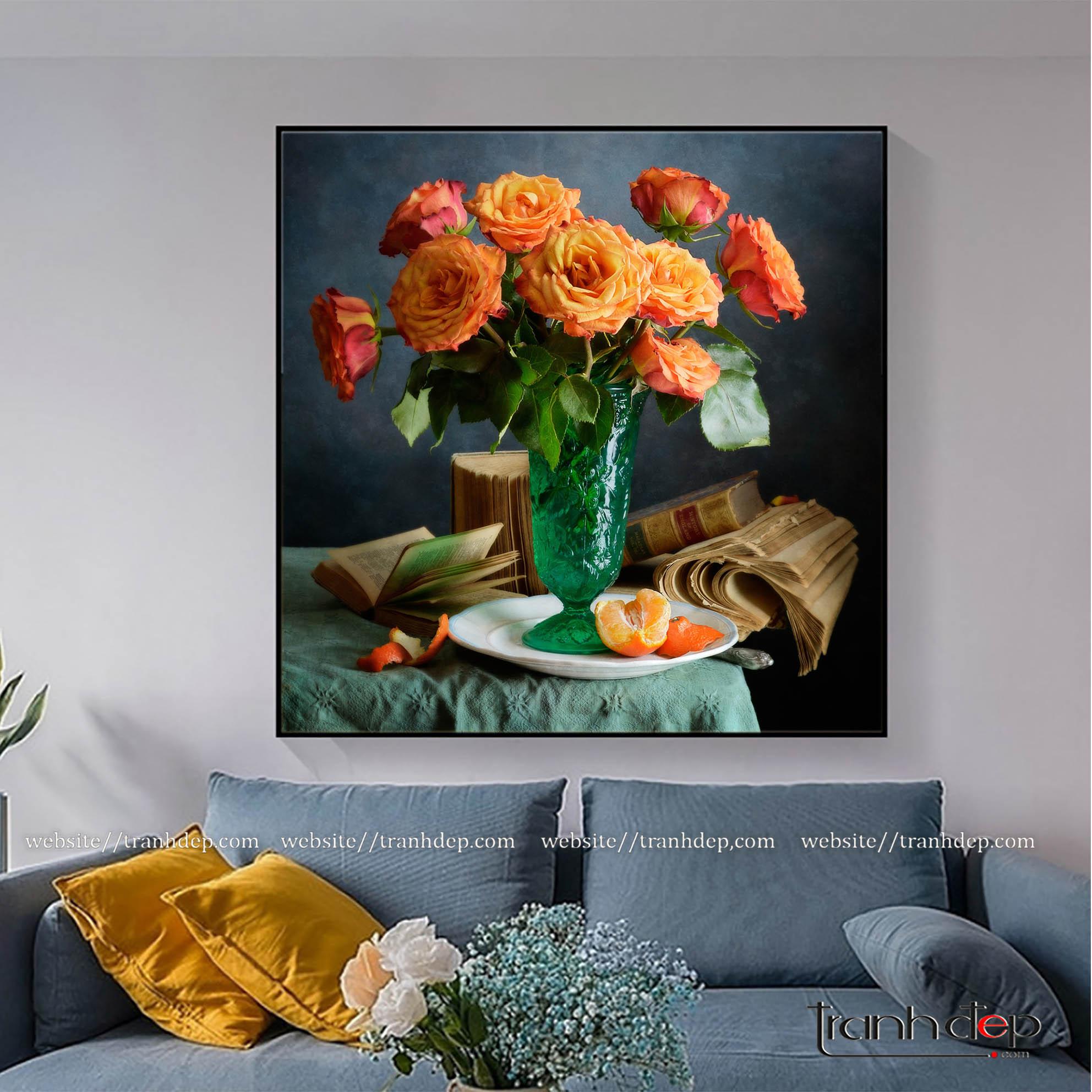Tranh treo tường hoa hồng cam và quả mọng