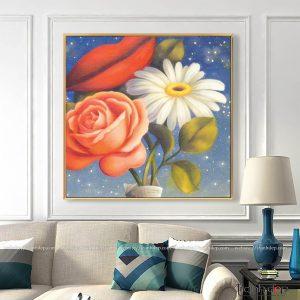 Tranh hoa hồng, hoa cúc, đôi môi treo tường đẹp