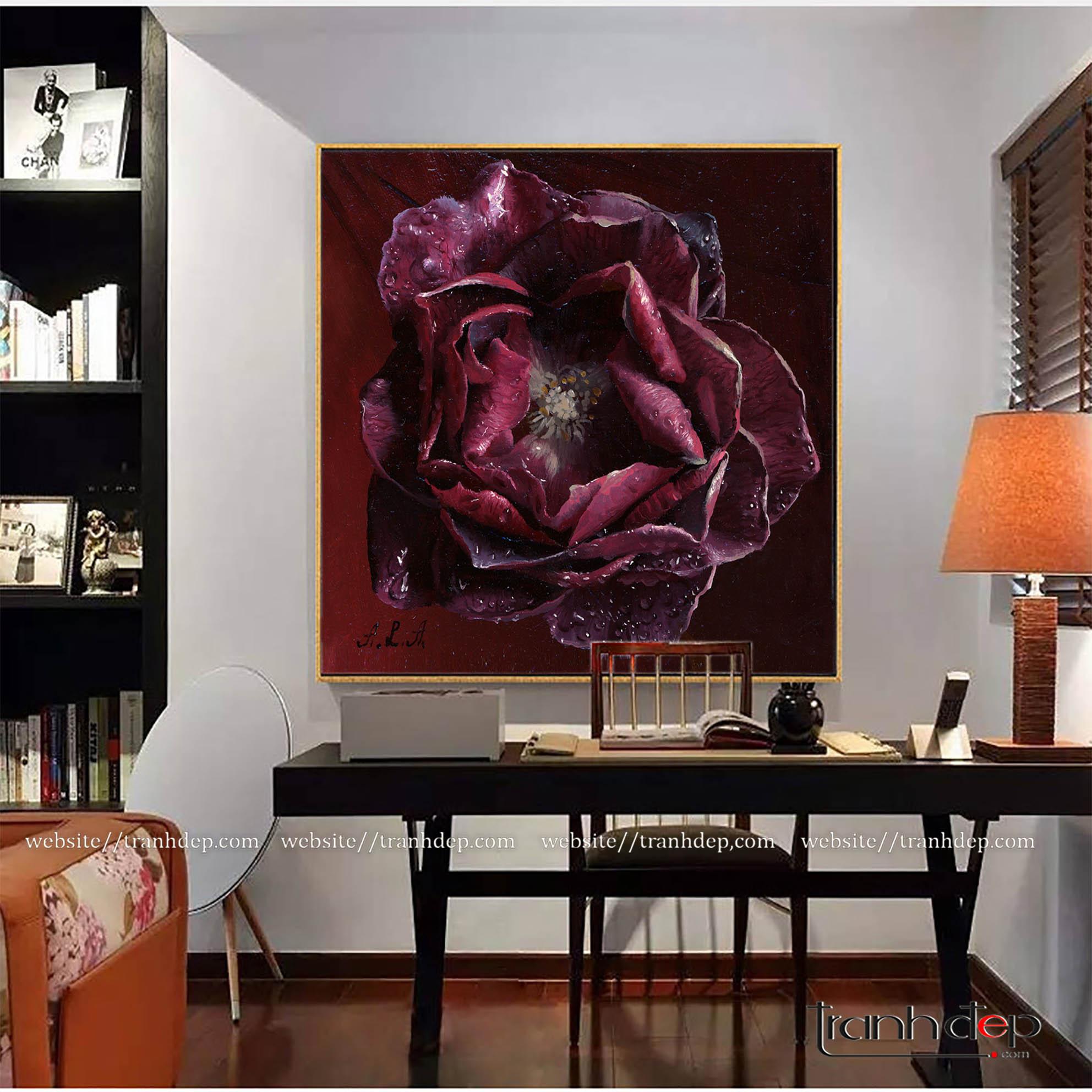 tranh hoa hồng tím mộng mơ