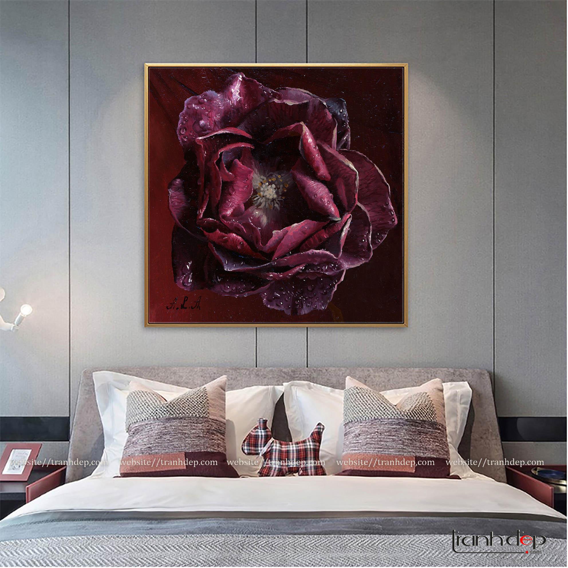 tranh hoa hồng tím