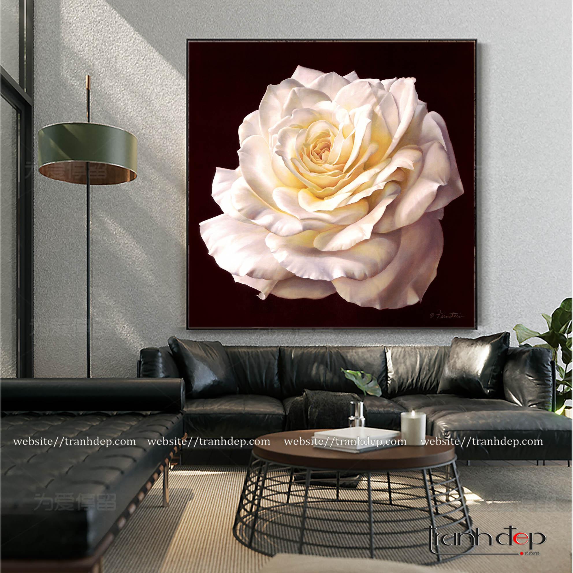 Tranh hoa hồng trắng tinh tế