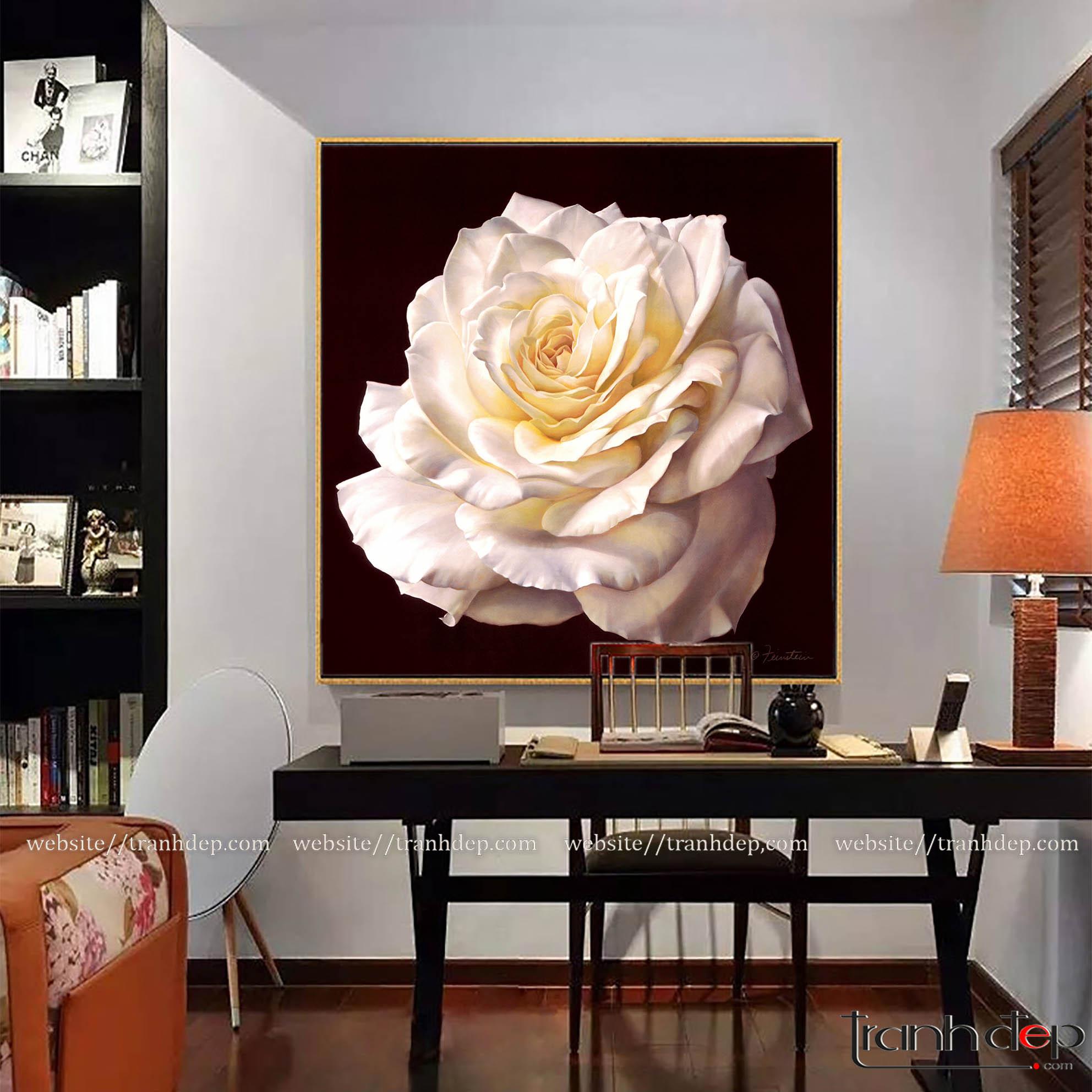 tranh hoa hồng treo ở văn phòng
