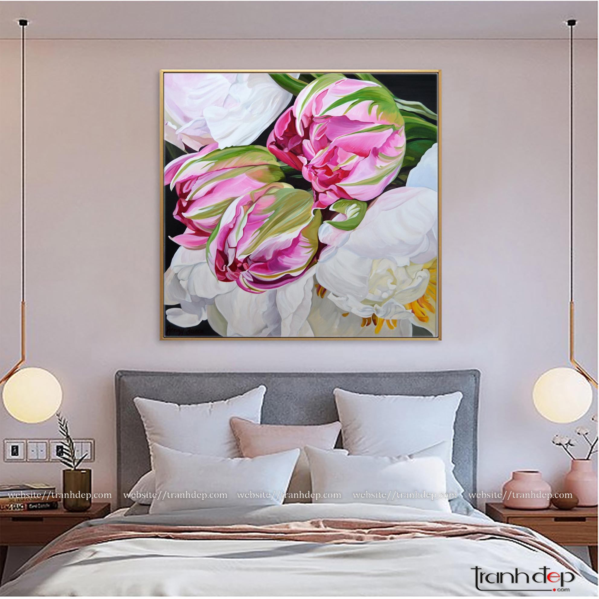 Tranh hoa tulip và mẫu đơn trang trí phòng ngủ