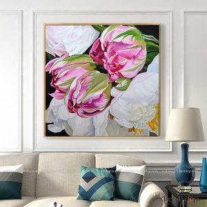 Tranh vẽ mẫu đơn trắng và hoa tulip hồng đẹp chất lượng