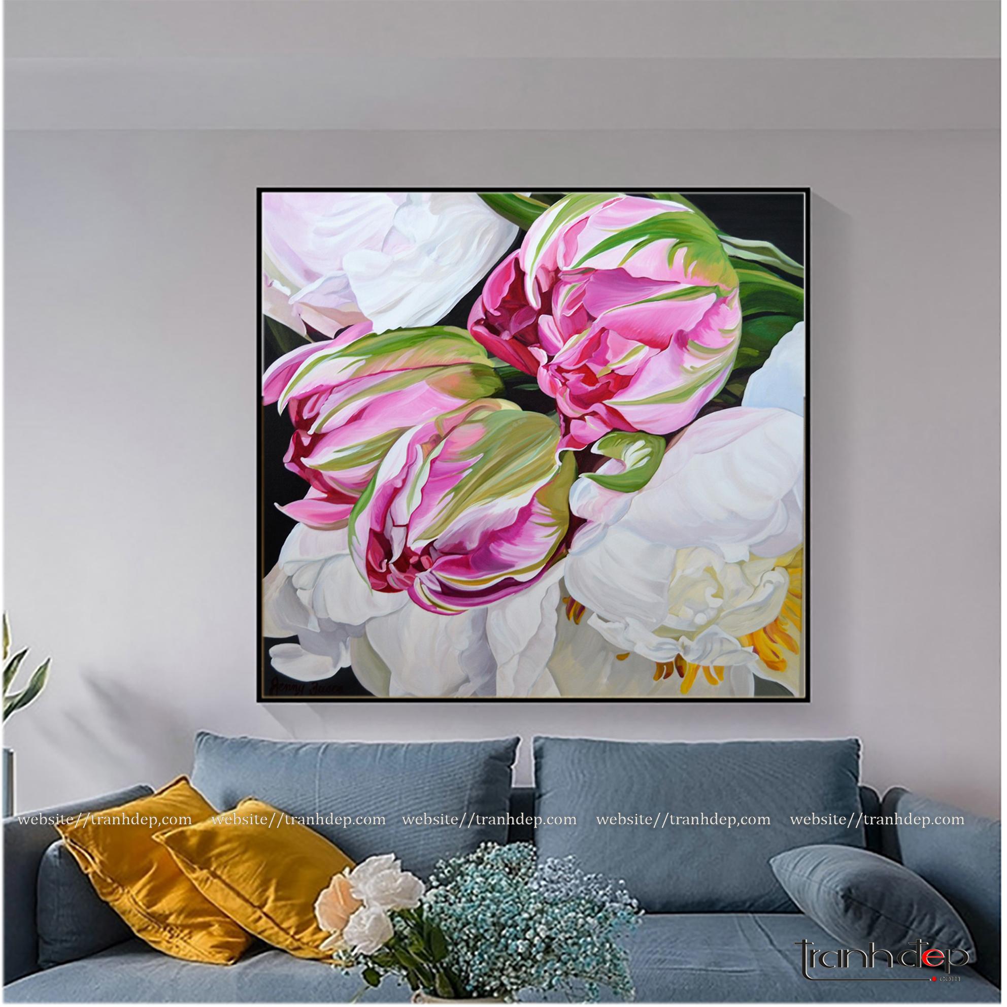 Tranh vẽ mẫu đơn trắng và hoa tulip hồng trang trí phòng khách