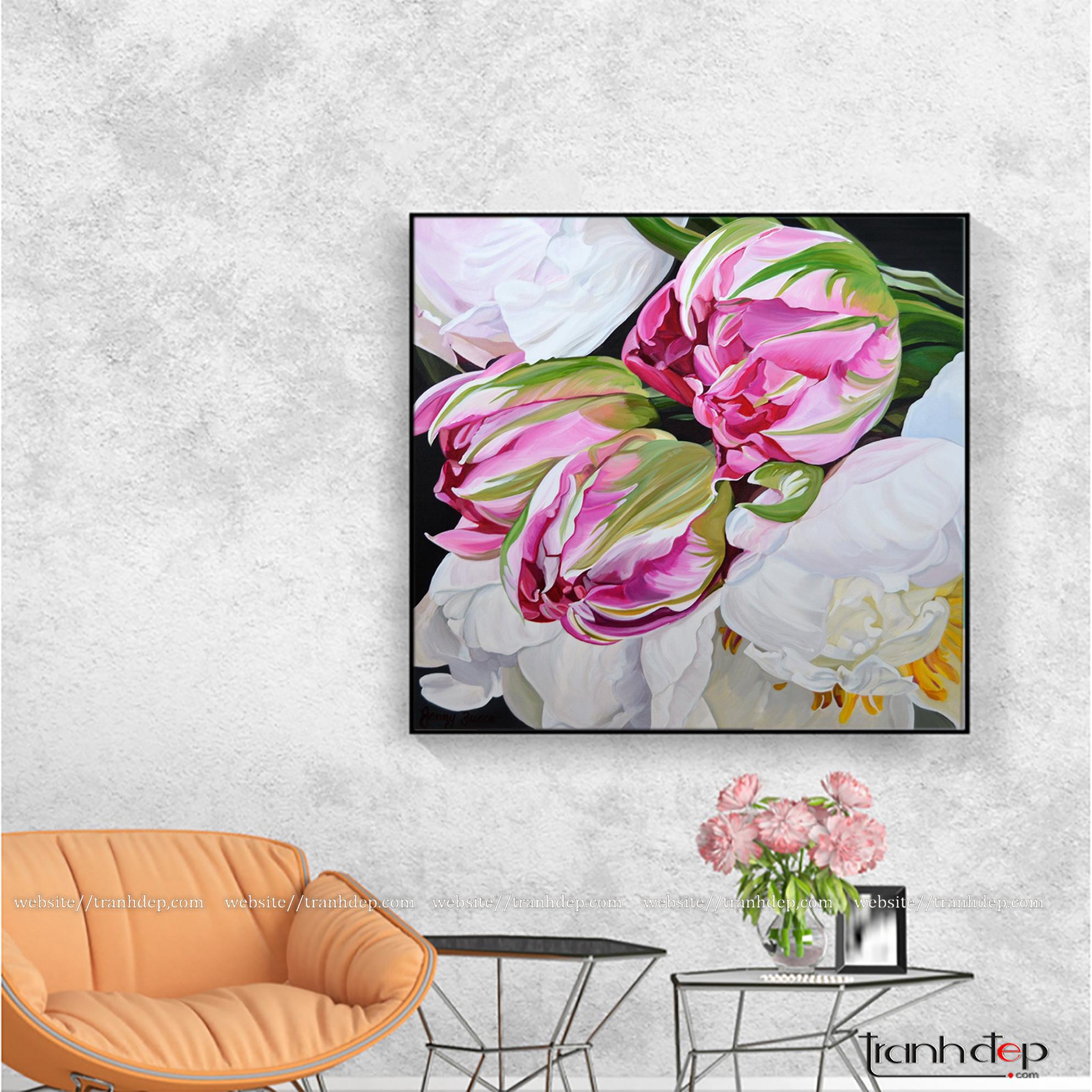 Tranh vẽ mẫu đơn trắng và hoa tulip hồng đẹp trang trí nội thất