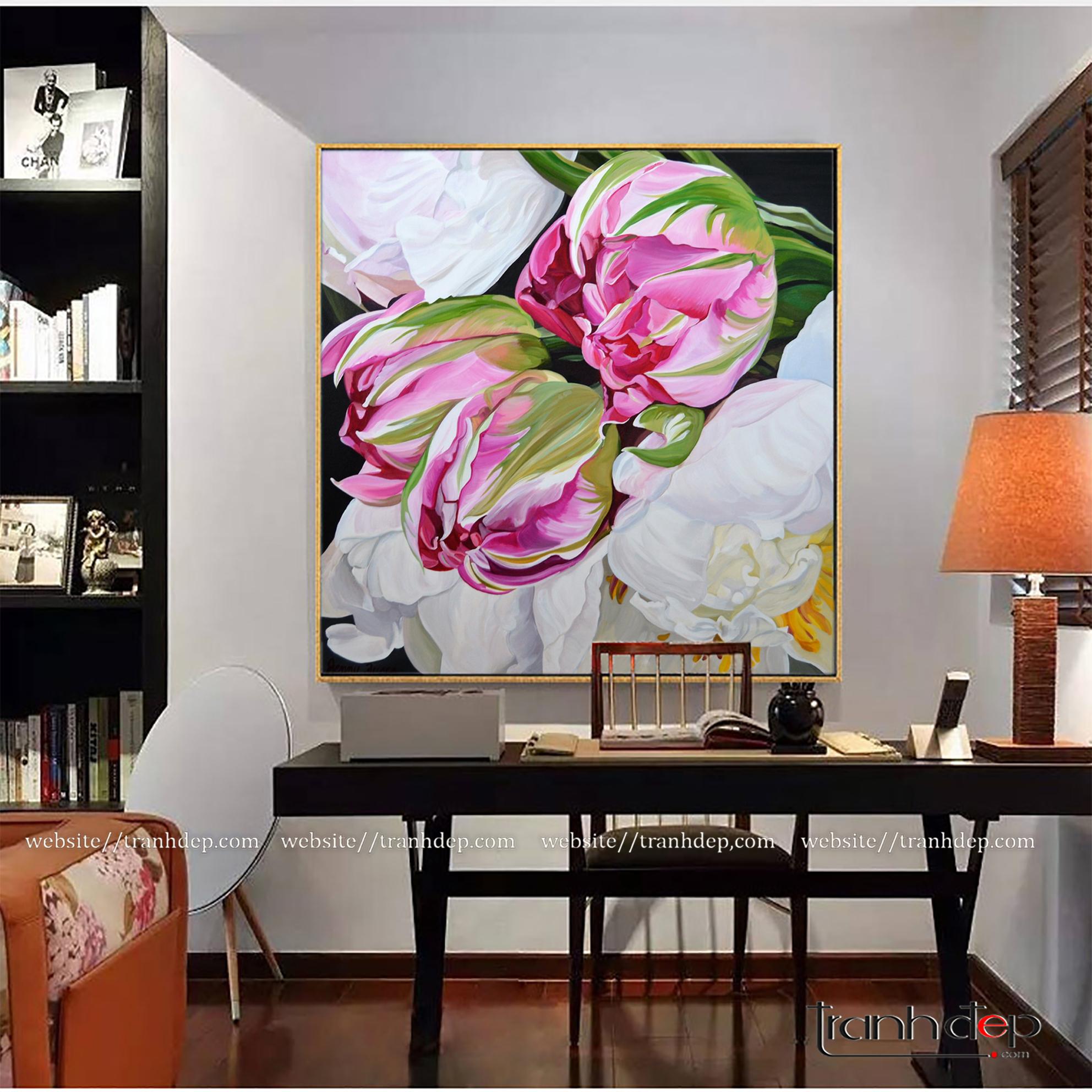 Tranh hoa đẹp treo phòng đọc sách, phòng làm việc