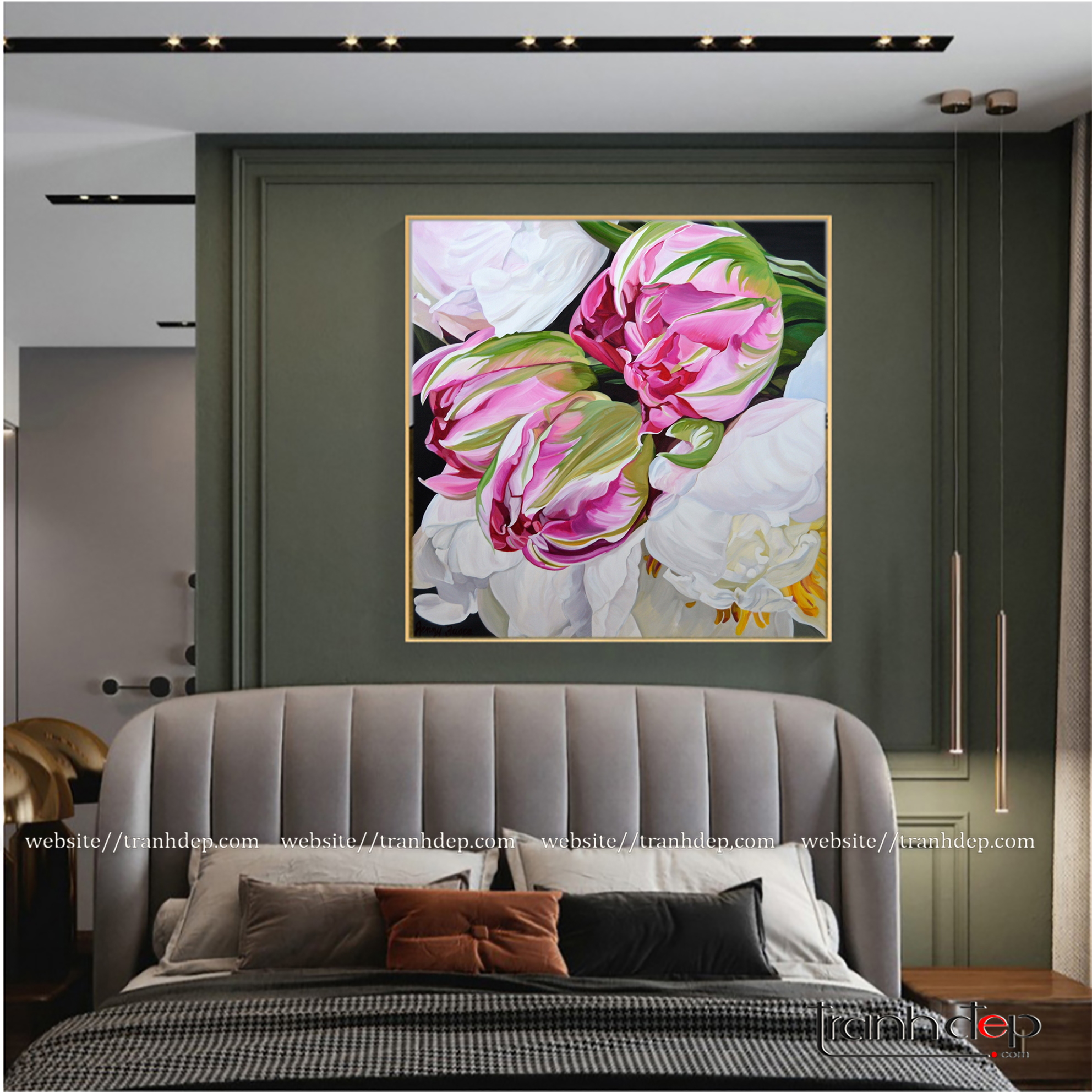 Tranh vẽ mẫu đơn trắng và hoa tulip hồng trong không gian