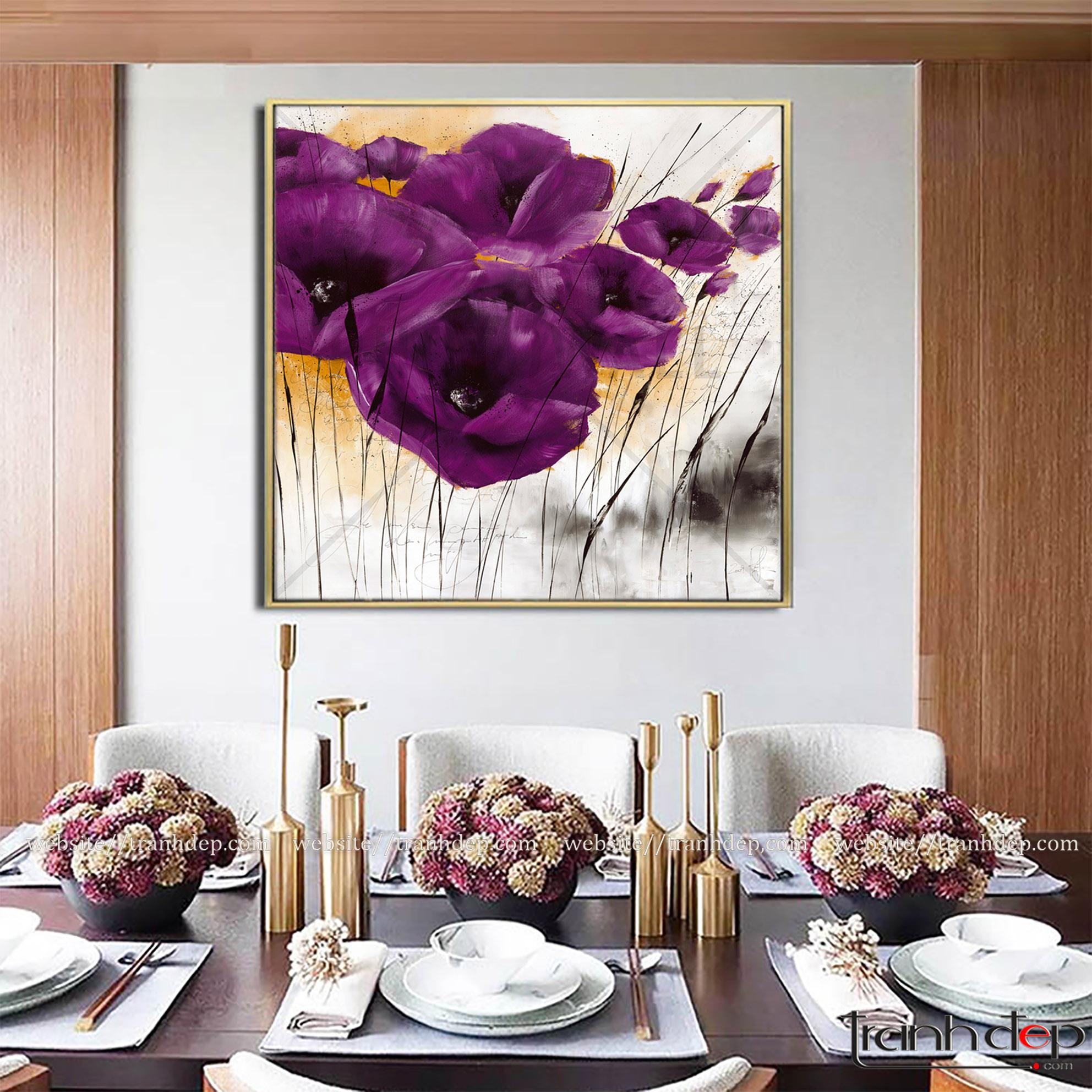 tranh tặng tân gia - tranh hoa poppy