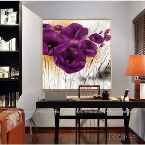 Tranh hoa poppy tím cỡ lớn giá rẻ