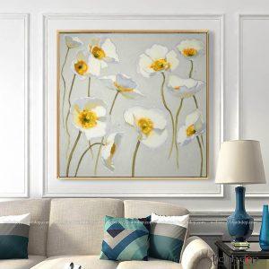 Tranh hoa Poppy trắng trang trí nội thất