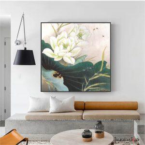 Tranh hoa sen trắng tinh khôi treo phong thủy