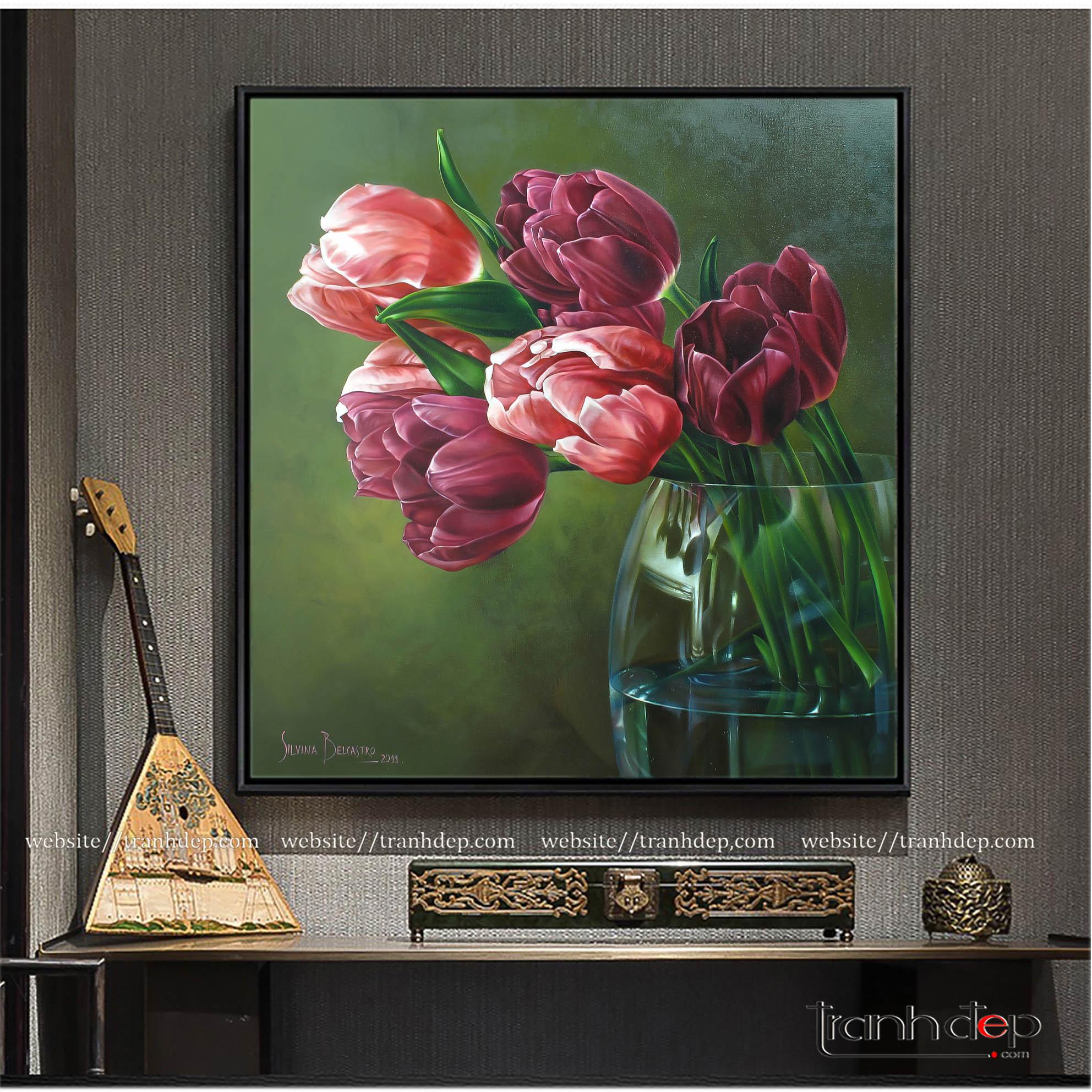 Tranh hoa tulip trang trí đẹp