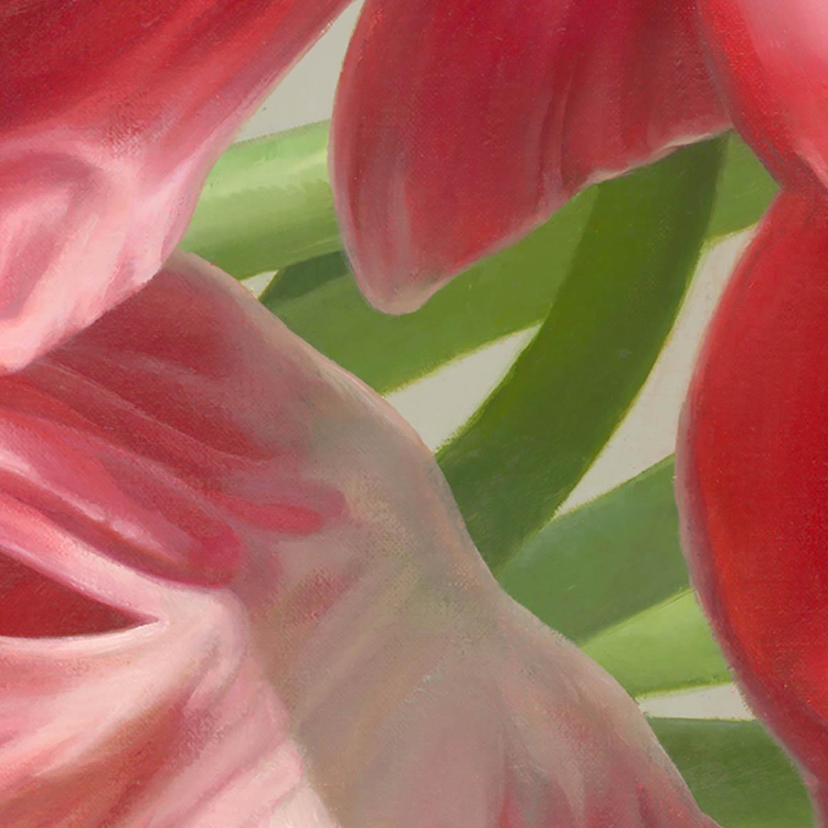 Tranh hoa tulip màu đỏ tả thực đẹp cuốn hút.