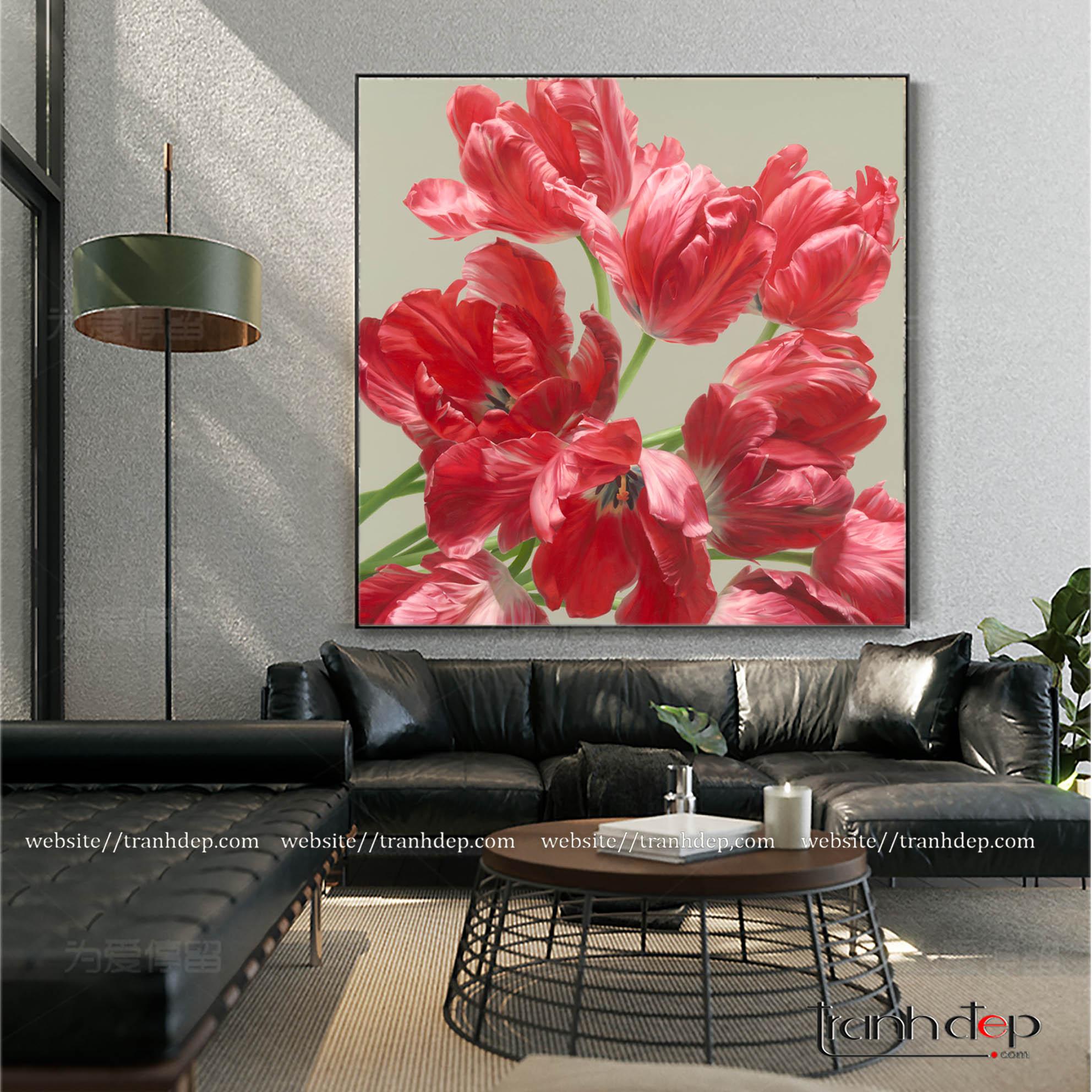 Tranh hoa tulip màu đỏ