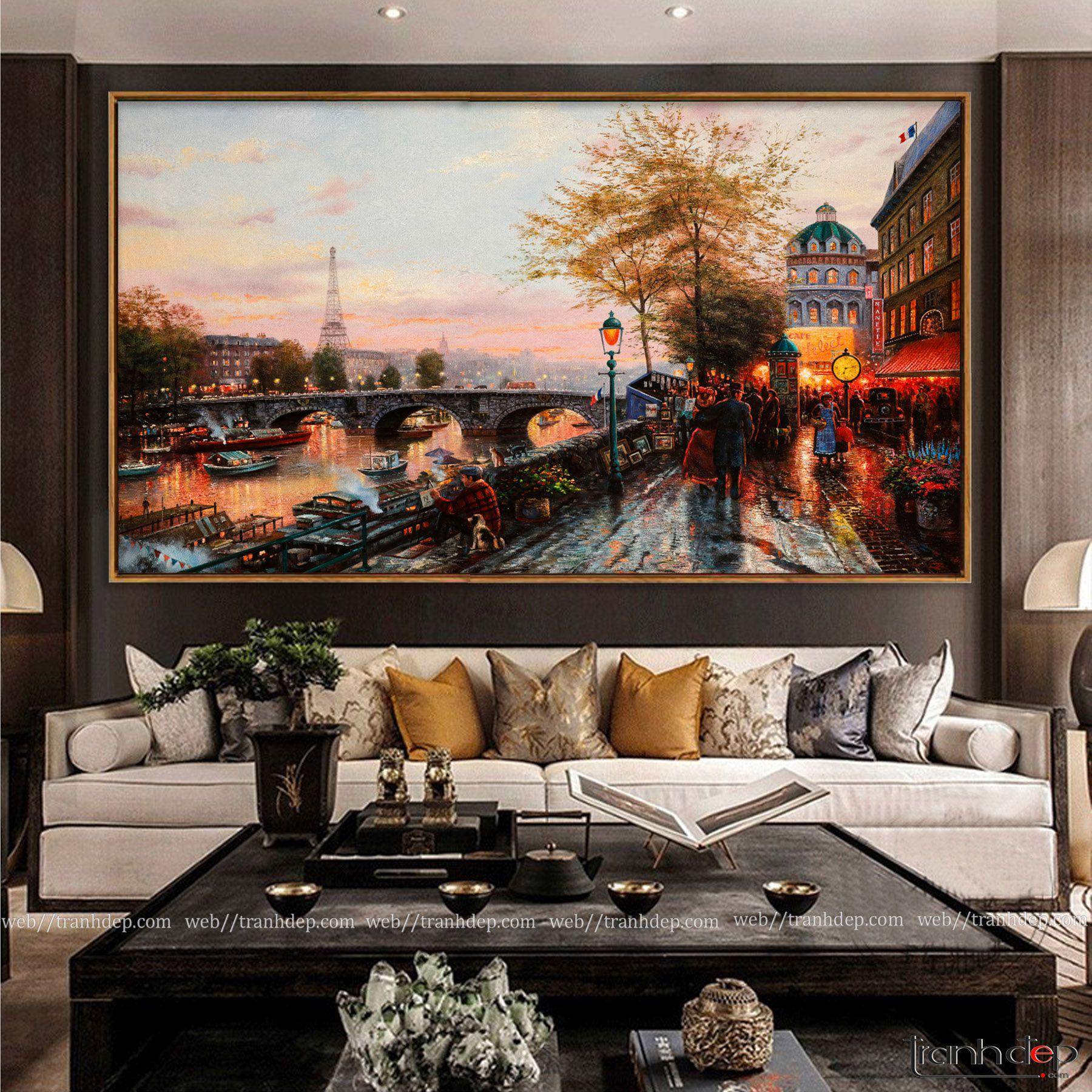 Tranh sơn dầu cổ điển châu âu treo phòng khách