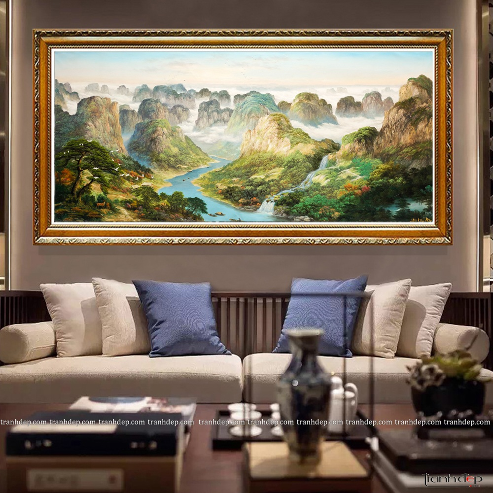 Tranh Phong Cảnh Núi Sông - Tranh Sơn Dầu Cao Cấp - Tranh trang trí