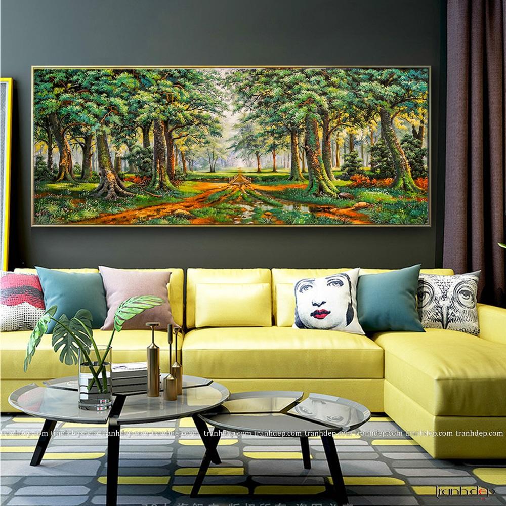 tranh rừng cây xanh