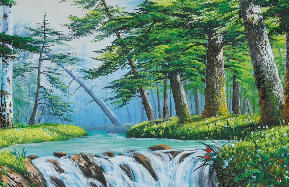 tranh phong cảnh rừng cây xanh