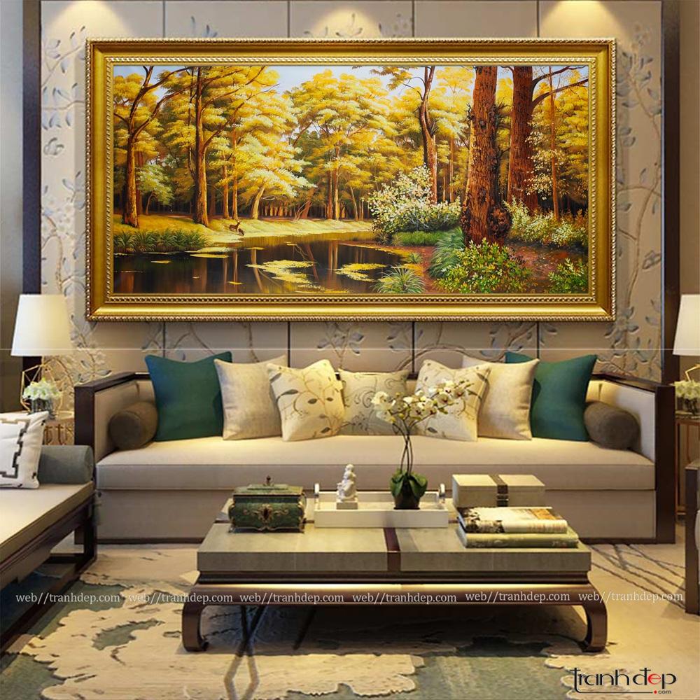 Tranh phong cảnh mùa thu trang trí phòng khách
