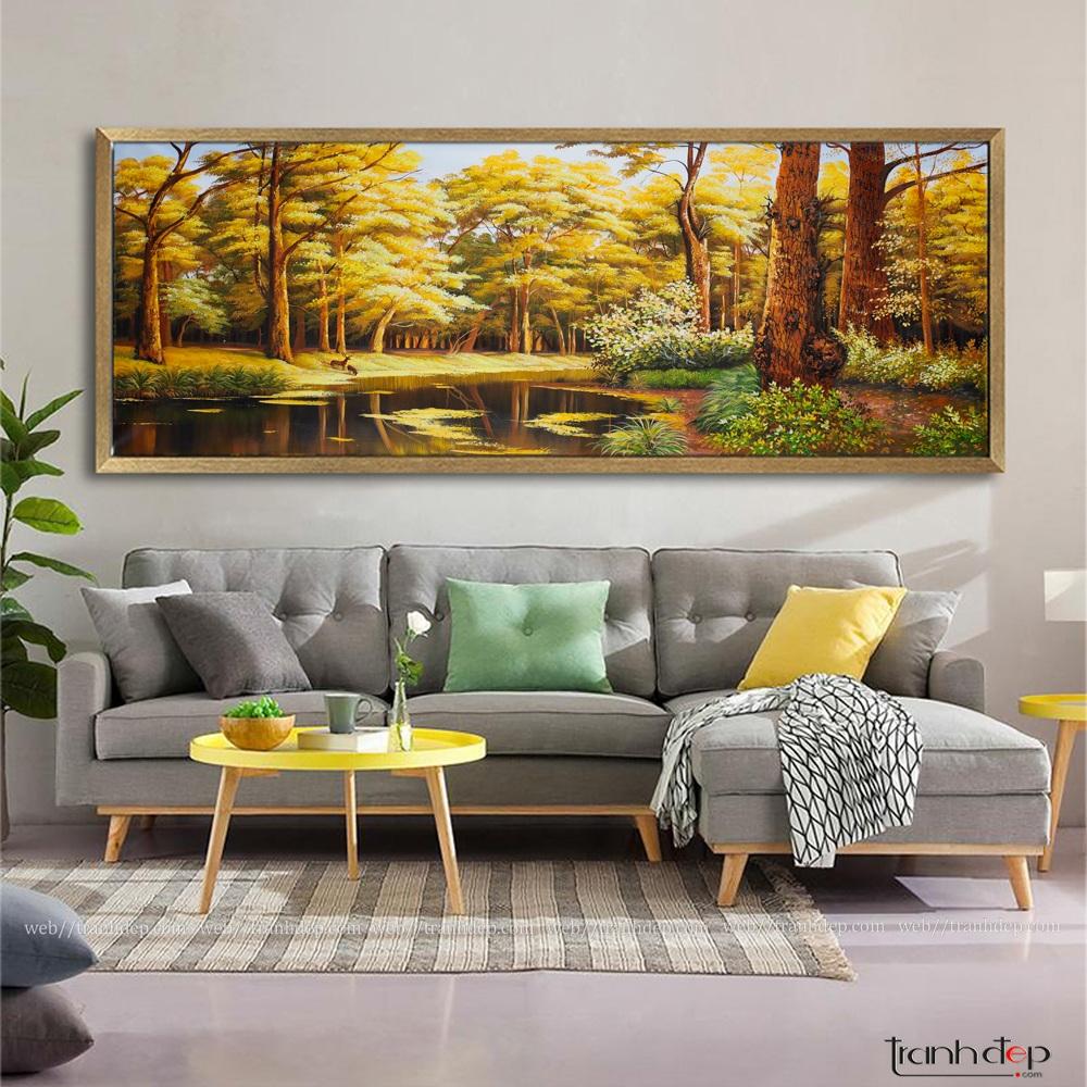 Tranh phong cảnh mùa thu khung Panorama treo phòng khách