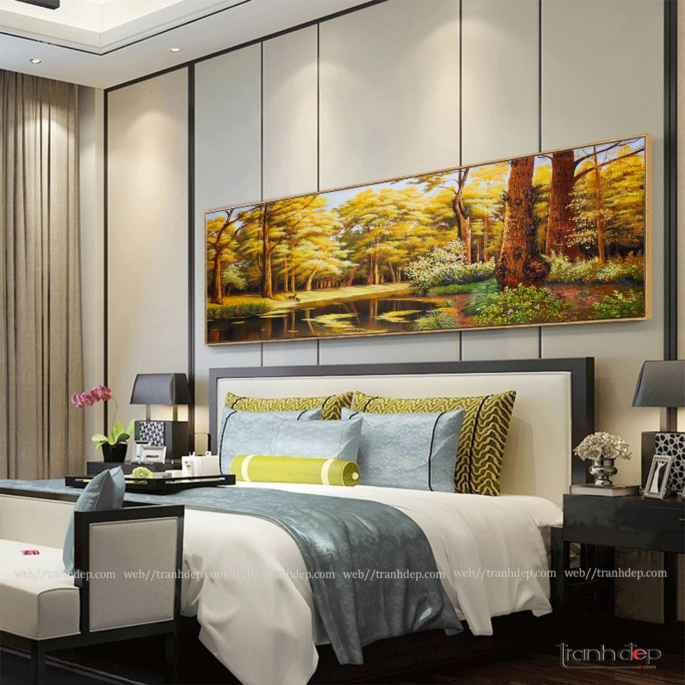 Bức tranh mùa thu trang trí phòng ngủ.