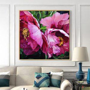 Tranh vẽ hoa poppy hồng đẹp giá rẻ