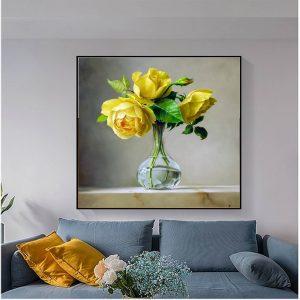 Tranh lọ hoa hồng vàng quý phái
