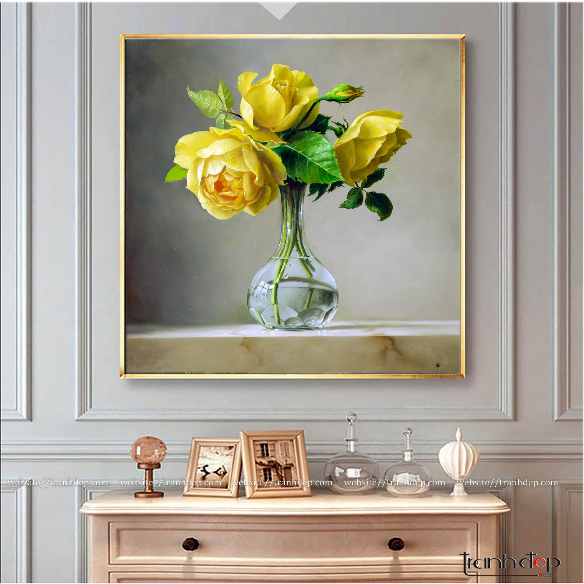 Tranh vẽ hoa hồng vàng lãng mạn