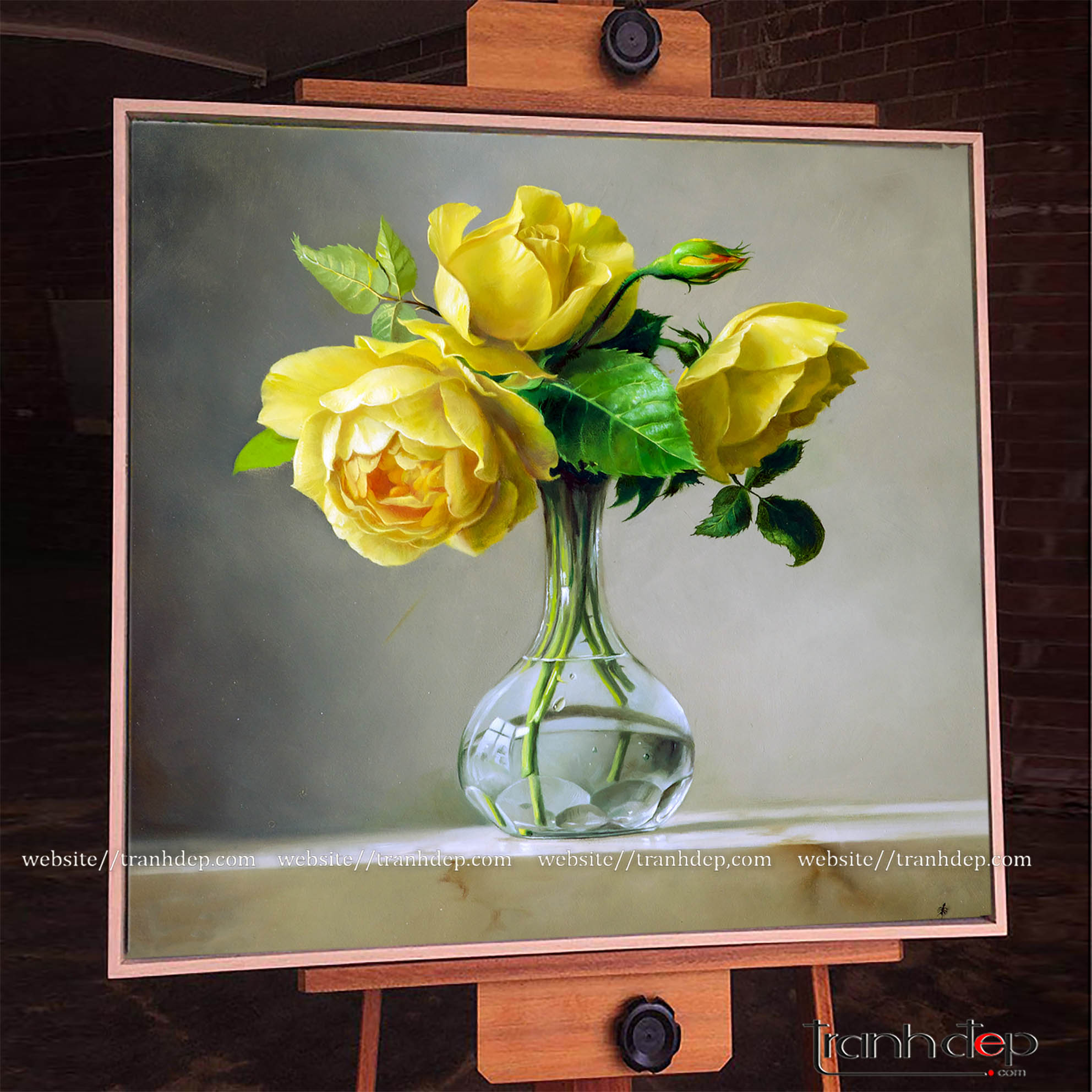 Cận cảnh bức tranh vẽ hoa hồng vàng