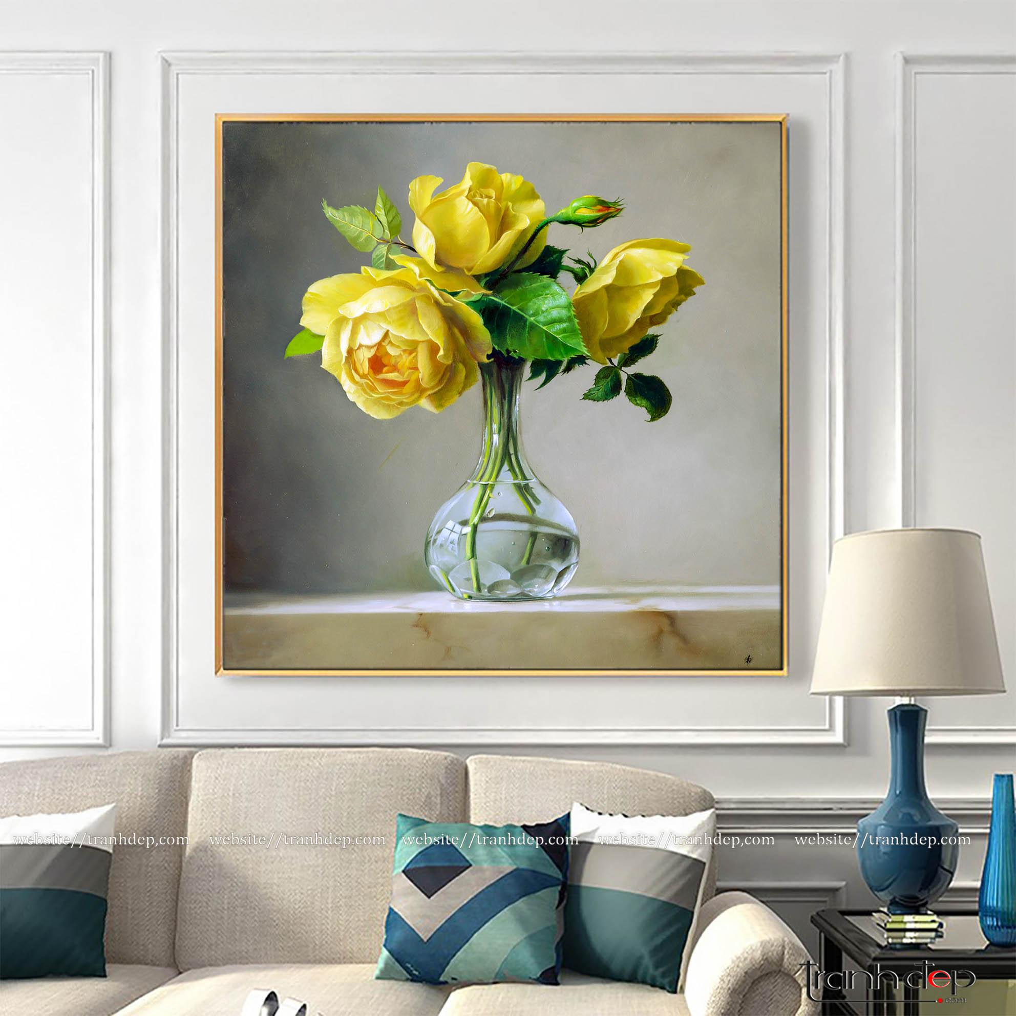 Tranh hoa hồng vàng trang trí không gian phòng khácg