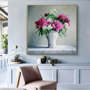 Tranh bình hoa tím thơ mộng treo phòng khách