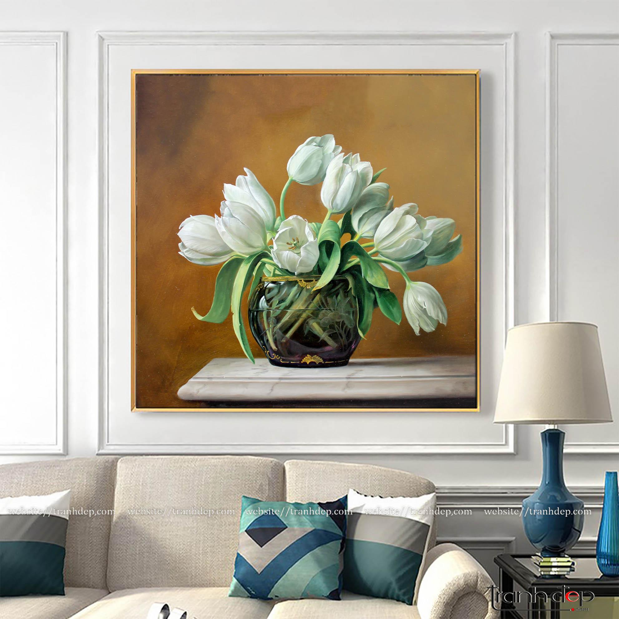 Tranh bình tulip trắng treo tường đẹp