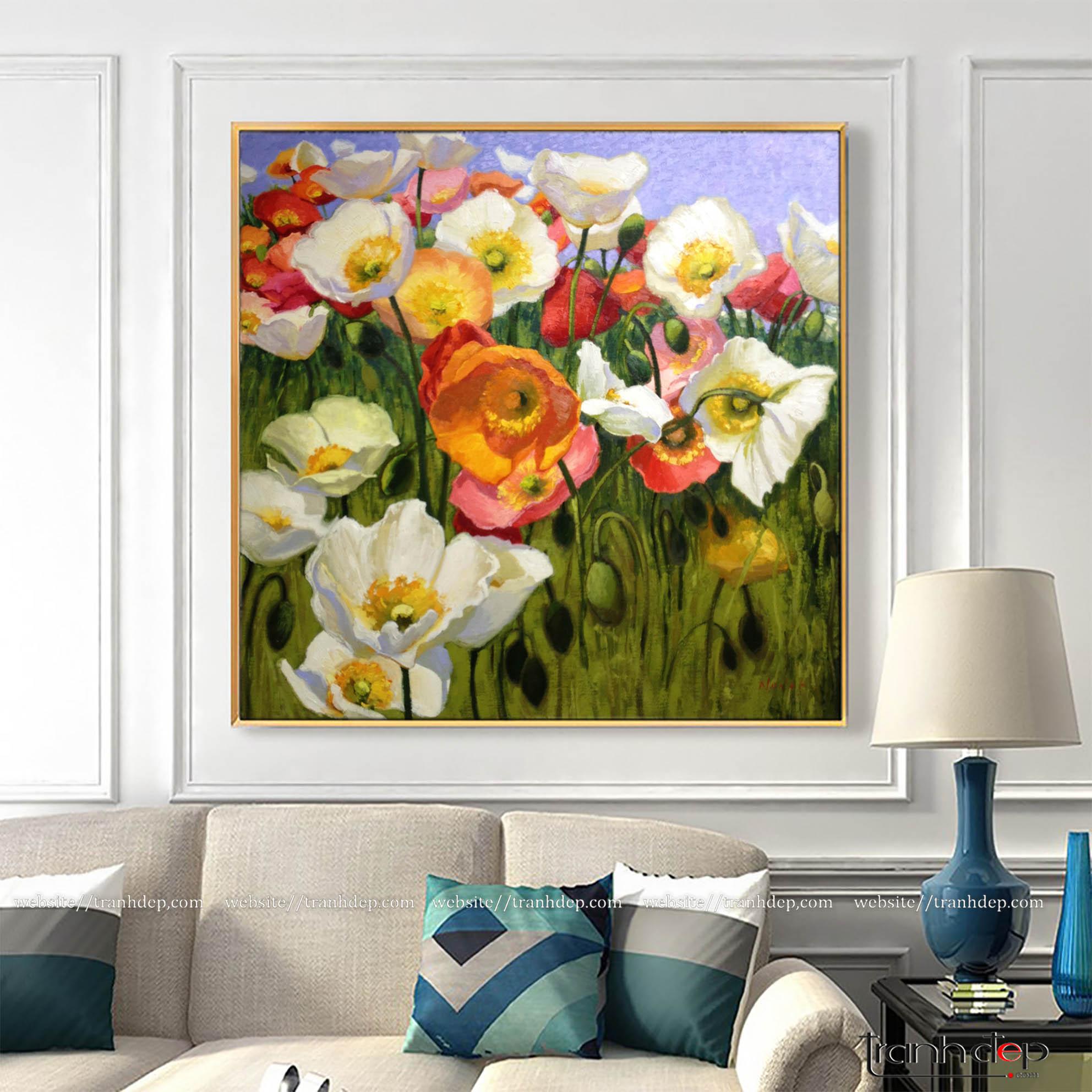 Tranh vườn hoa poppy tuyệt đẹp