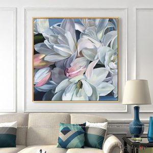 Tranh hoa trắng đẹp trang trí nhà đẹp
