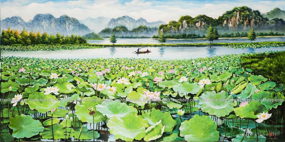 Tranh phong cảnh đẹp non nước hữu tình với màu xanh thư giãn