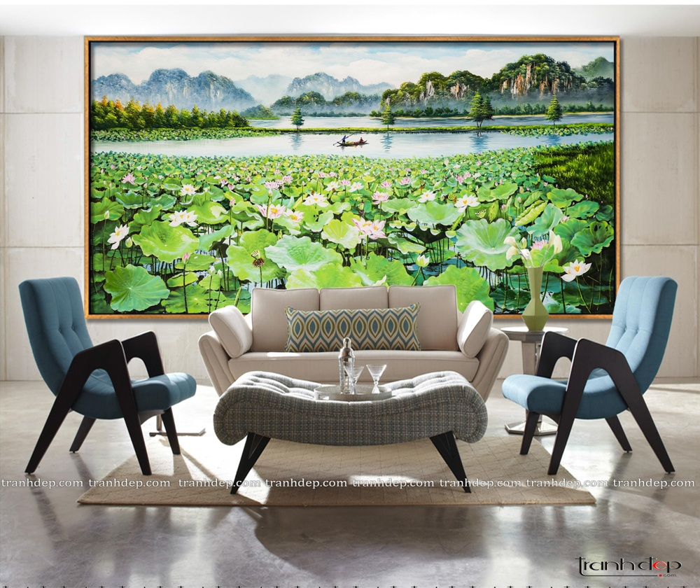 Tranh đầm sen Việt Nam trong thiết kế kiểu Tây