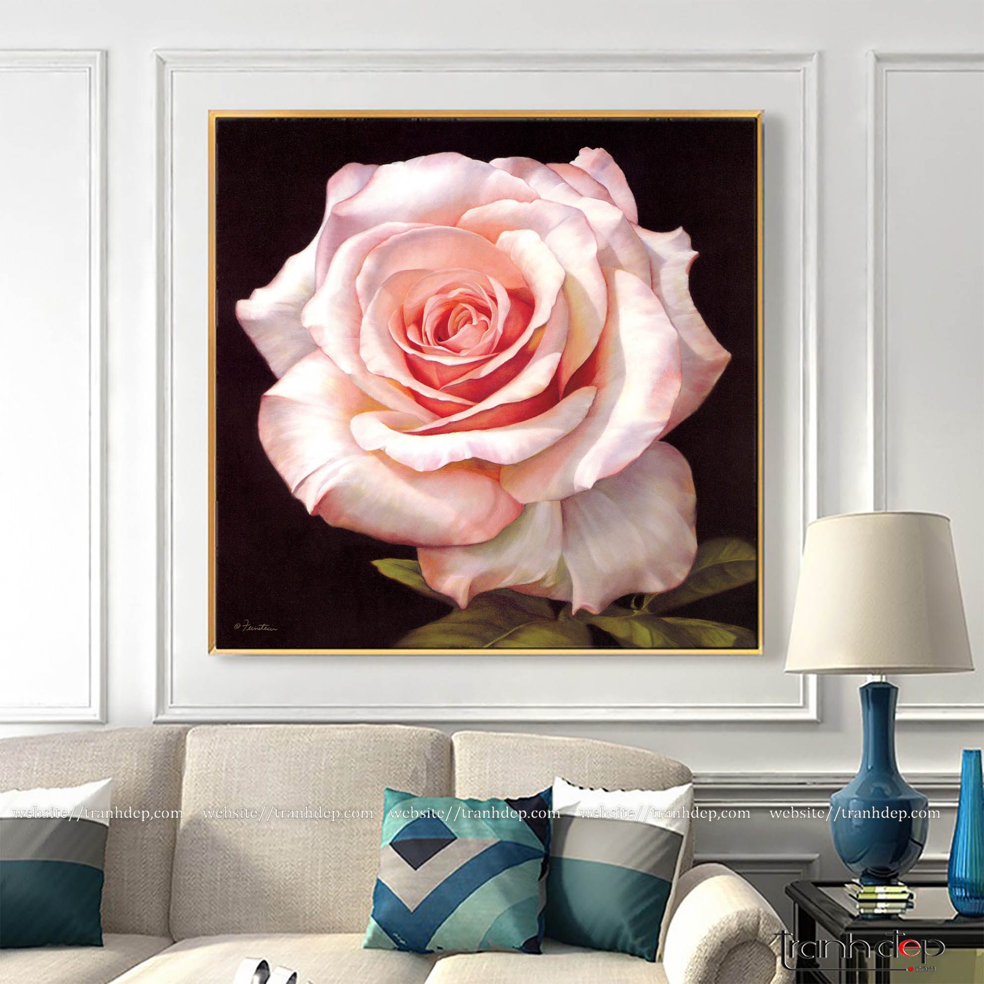 tranh hoa hồng phấn đẹp