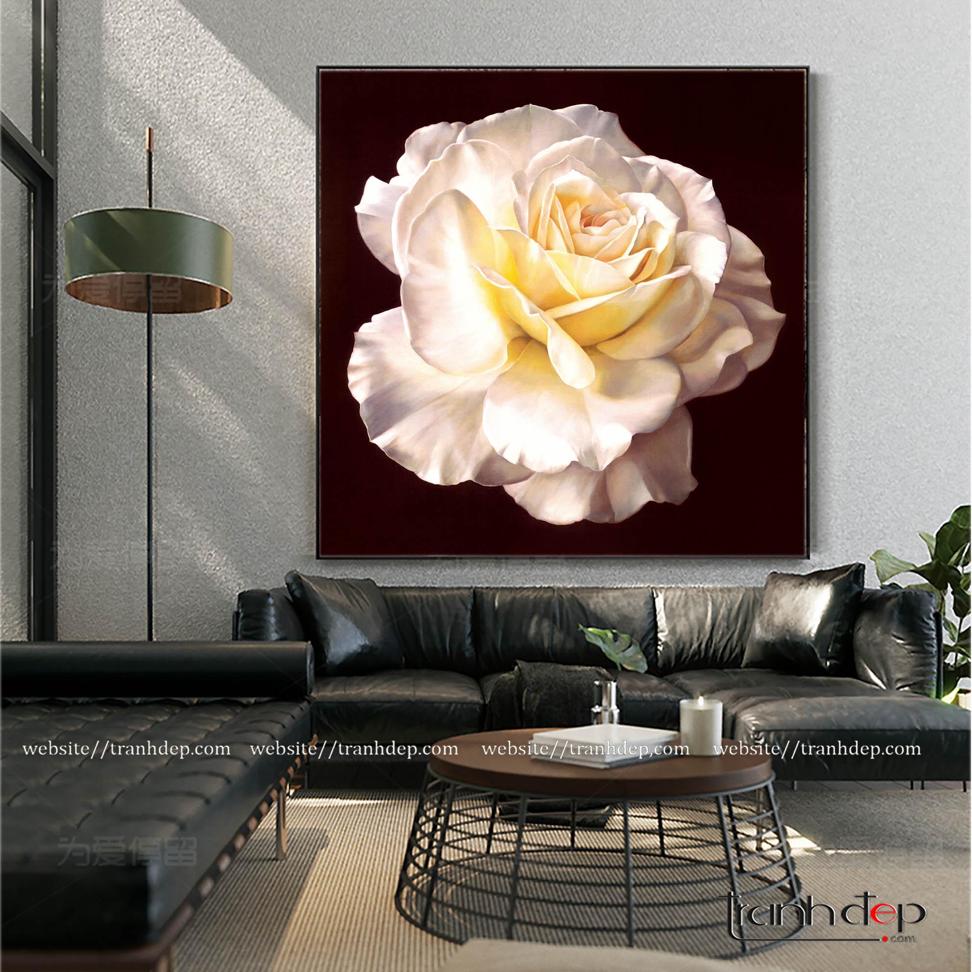 Tranh sơn dầu hoa hồng trắng treo tường